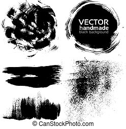 brush strokes set painted by ink - Vector handmade brush...
