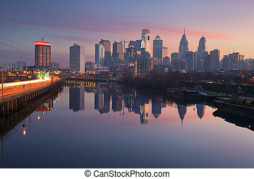 City of Philadelphia - Image of Philadelphia skyline in a...