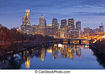 Philadelphia - Image of the Philadelphia skyline at twilight...