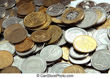 Coins of different countries, as financial background