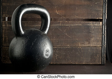 Black Kettlebell - Kettlebell with wood background