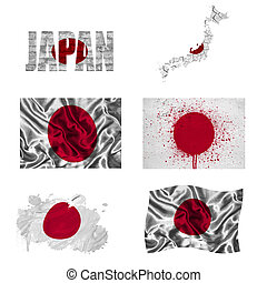 Japanese flag collage - Japan flag and map in different...