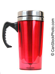 Heat protection- red thermos for coffee mug, isolated on...