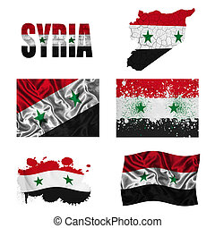 Syrian flag collage - Syria flag and map in different styles...