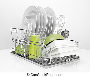 Bright dishes drying on metal dish rack - Bright dishes...