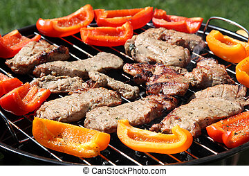 Grilling meat and vegetables