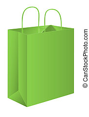 Paper bag - green paper bag on white background