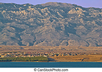 Island of Pag and Velebit mountain - Town of Povljana on...