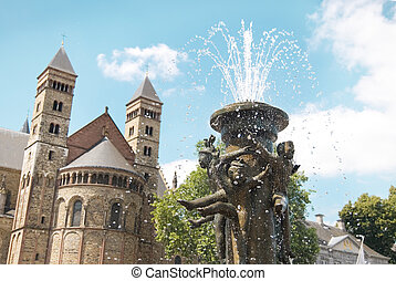 Maastricht - Fountain at the Vrijthof square near Basilica...