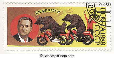 Soviet bear trainer Valentin Filatov on post stamp - USSR -...