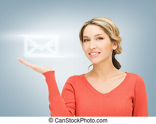 virtual envelope on the palm - smiling woman showing virtual...