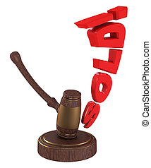 Auction gavel with word sold isolated on white background