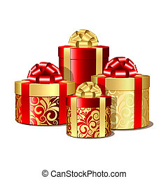 Red and gold gift boxes. Vector illustration