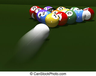 The game of billiards - 3d render Colored balls for...