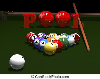 The game of billiards - 3d render. Colored balls for...