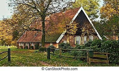 behind the fence - Traditional dutch farm behind a fence in...