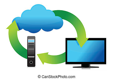 computer server and cloud storage concept illustration...