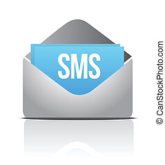 sms envelope message illustration design over a white...