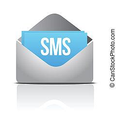 sms envelope message illustration design over a white...