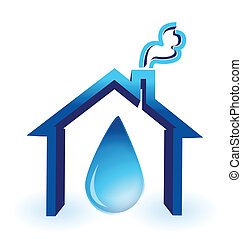 water in house badge illustration design over a white...