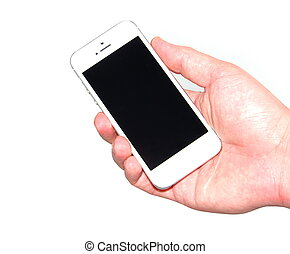 Hand holding new iPhone 5 by Apple, isolated on white at...