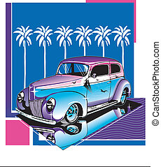 Hot Rod Design - 40's Ford In Design, Beach