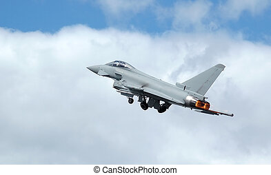 fighter take-off - euro fighter: typhoon military jet on...