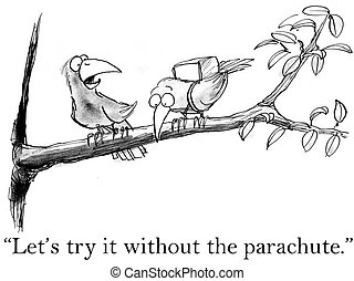 "Birds try flying without a parachute - ""Let's try it once..."