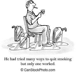 He had tried many ways to quit smoking - Man has tried...