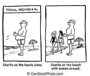 Charlie on the beach with women around.