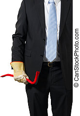 businessman with a crowbar - businessman ready to take the...