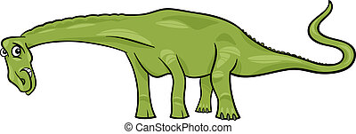 cartoon illustration of diplodocus dinosaur - Cartoon...