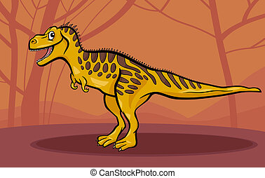cartoon illustration of tarbosaurus dinosaur - Cartoon...