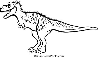 cartoon tarbosaurus dinosaur for coloring book - Cartoon...