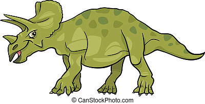cartoon illustration of triceratops dinosaur - Cartoon...