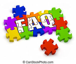 FAQ Puzzle - 3D jigsaw pieces with text. Part of a series.