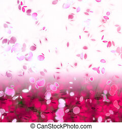 Cherry blossom petals swirling in the wind - artwork of...