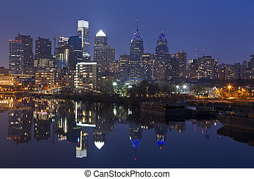 Philadelphia Skyline - Image of Philadelphia skyline with...