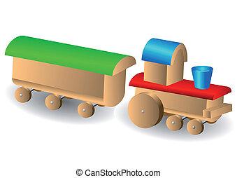 Wooden children's locomotive with wagon