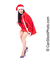 Sexy girl with christmas outfit - isolated - photo of sexy...