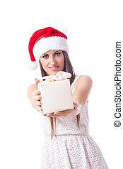 Woman is giving a gift - isolated - beautiful woman with...