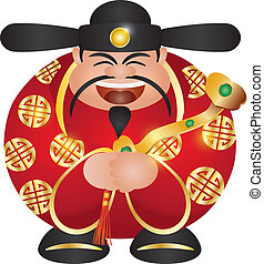 Chinese Prosperity Money God with Scepter - Happy Chinese...