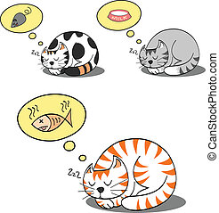 cats sleeping and dreaming for their food