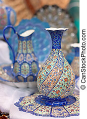 Traditional blue arabic porcelain ware - blue ceramic ware...