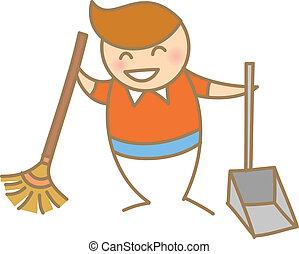 kid sweeping