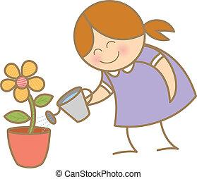 女の子, 水まき, 花, 植物