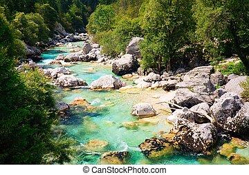 esmeralda, coloreado, alpino, río, Soca, /, Isonzo,...