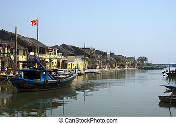 Fishing boat in harbour, Hoi An, Vietnam