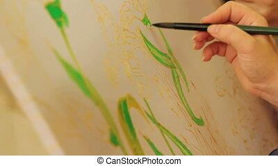 Batik work - Person creating a batik painting