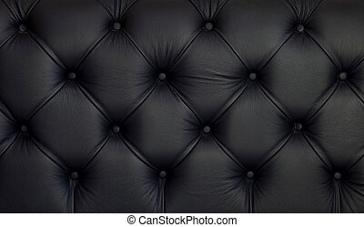 Leather upholstery - Detailed texture of creased black...